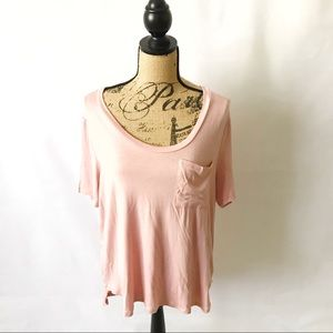 Charlotte Russe Large Pink High Low Short Sleeve